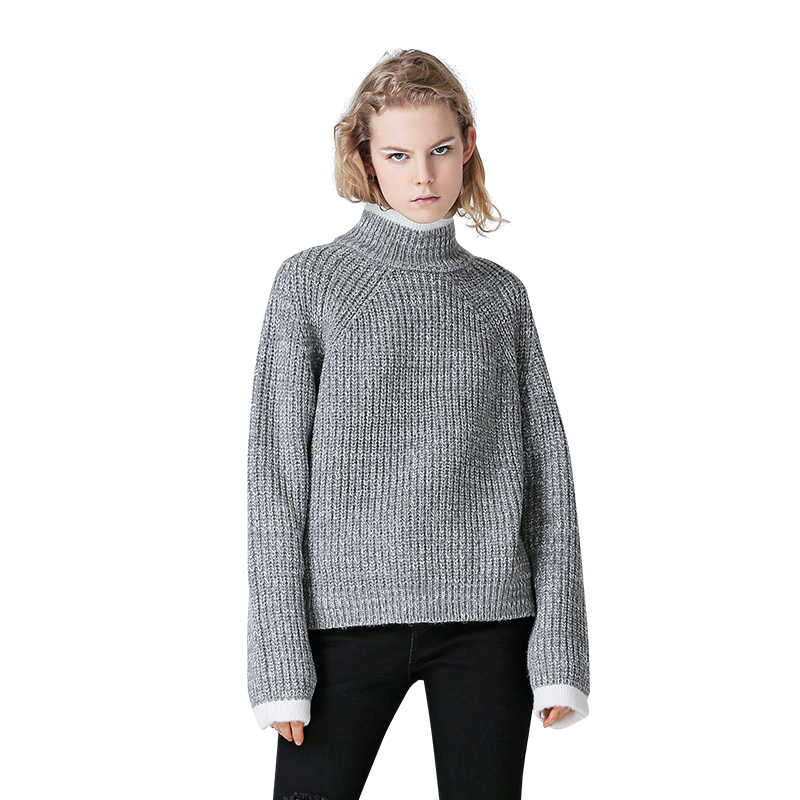 Toyouth Color Block Knit Jumper Autumn Winter Womens Pullover Sweater Grey Stand Collar Long Sleeve women sweaters and pullovers