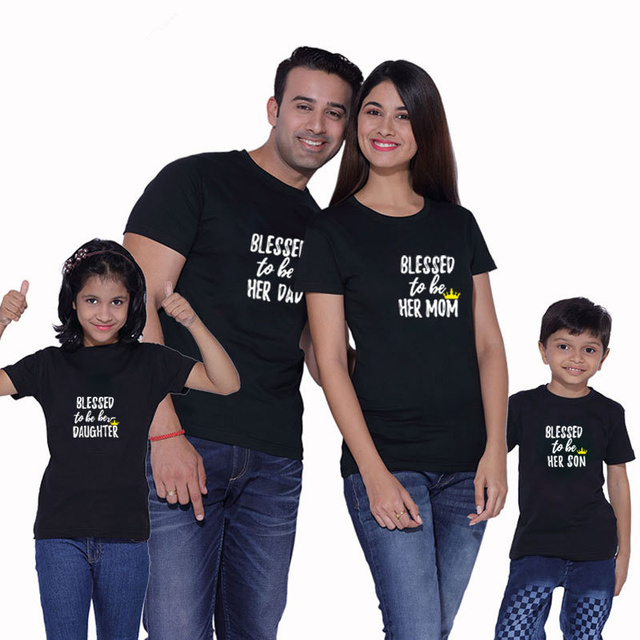 fda86422 Blessed Dad Mom Daughter Son T-shirt Family Look Matching Outfits Clothes  Daddy Mommy And Me Mother Father Clothing Dropshipping