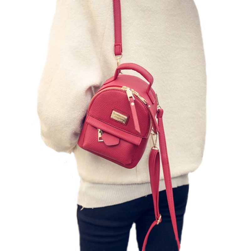 Wobag New Women Mini Small Backpack Soft Pu Leather Girls College Wind Shoulder Bag Fashion Red Retro Leisure Travel Rucksack