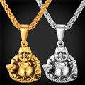 Laughing Buddha Colgante de Collar Para Los Hombres/Mujeres Encantos Joyería Budismo Regalo de Acero Inoxidable/Oro Cadena GP1816