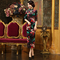 2017 Women Long Cheongsams Female Velour Qipao Dress Chinese Traditional Evening Dress Women Sexy Cotton Cheongsam In Spring