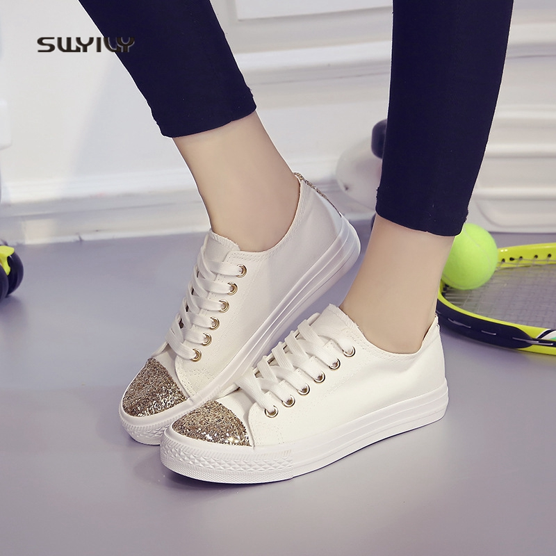SWYIVY Women's Vulcanize Shoes White Sneakers 2018 Female Canvas Casual Shoes Breathable Studnet Footwear Women Sneakers Bling