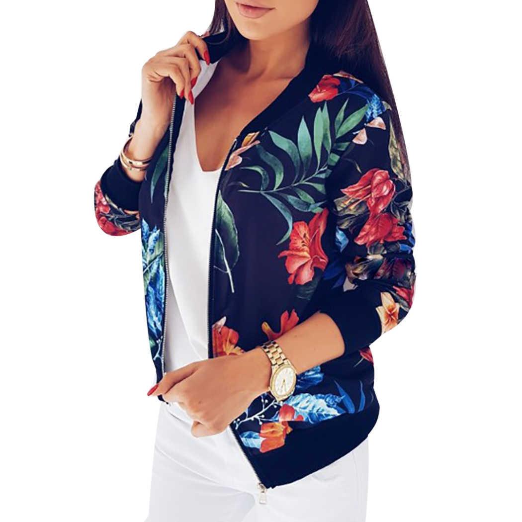 5ae992a861d Для женщин Цветочный принт пальто в стиле ретро на молнии Курточка бомбер  пальто Топы Осень Дамы
