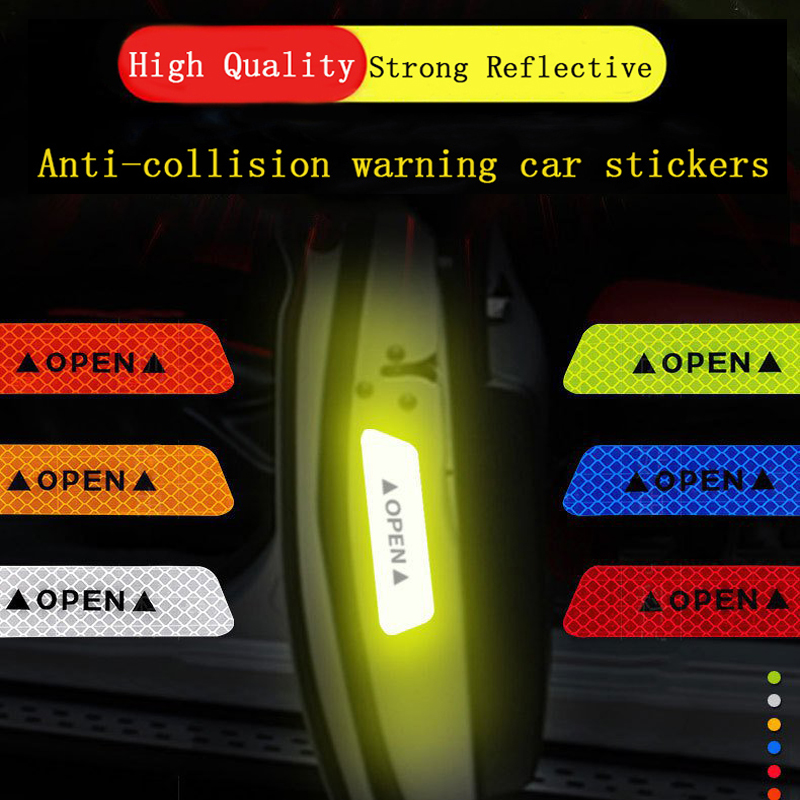 4pcs Car Open Door Warning Reflective Stickers Open Stickers Strong Reflective Car Door Safety Warning Decal Decorative Stickers