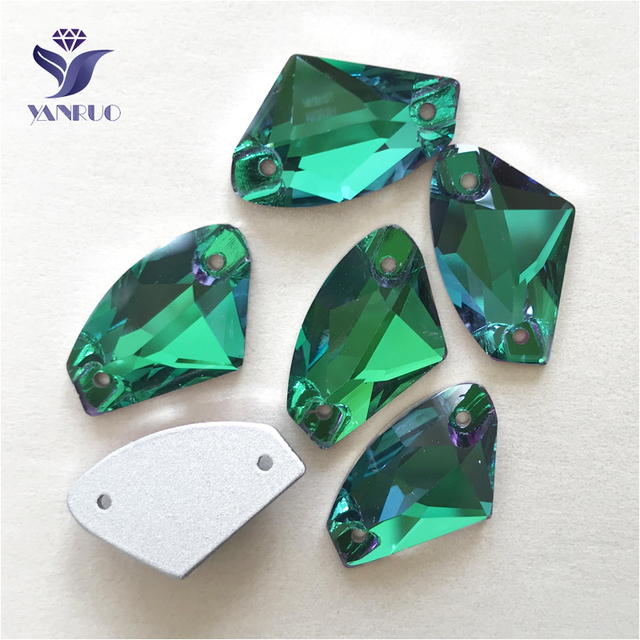 3c63b1e909 US $20.64 10% OFF|YANRUO 3256 All Sizes Emerald Galactic Strass Loose  Rhinestone Flat Back Sew On Crystals Glass Stones For Sewing-in Rhinestones  from ...