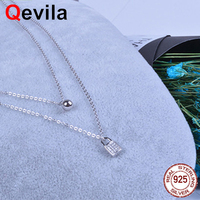 e0ec8ee2f Qevila New Fashion Jewelry Necklaces 100 925 Sterling Silver WaterDrop  PadLock Pendant Necklace For Women Multilayer