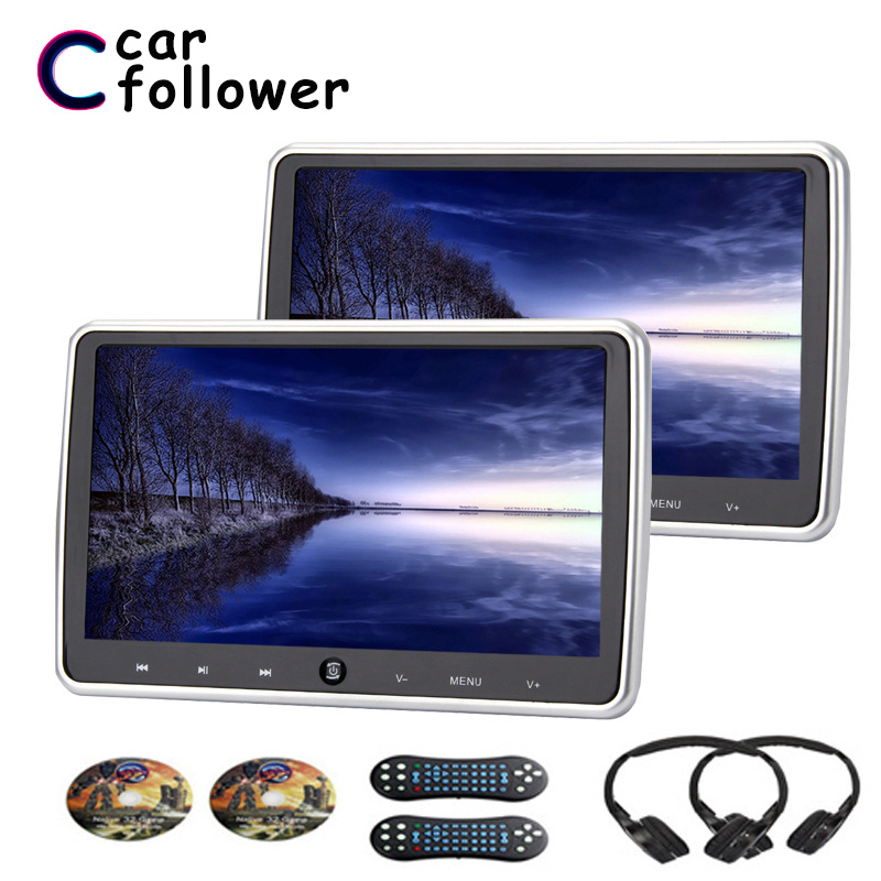 2PCS 10.1 Inch Monitor In The Car HD Digital LCD Screen Auto DVD Player With USB/SD/HDMI/IR/FM Transmitter/Game MP5 Car Monitor(China)