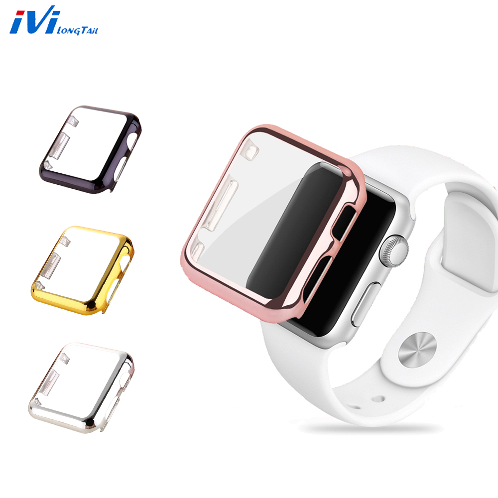 For Apple Watch Case Cover Series 3 1 2 38mm 42mm Plating Hard Acrylic Plastic Cases Glass Screen Protector 2 in 1 Rose Gold
