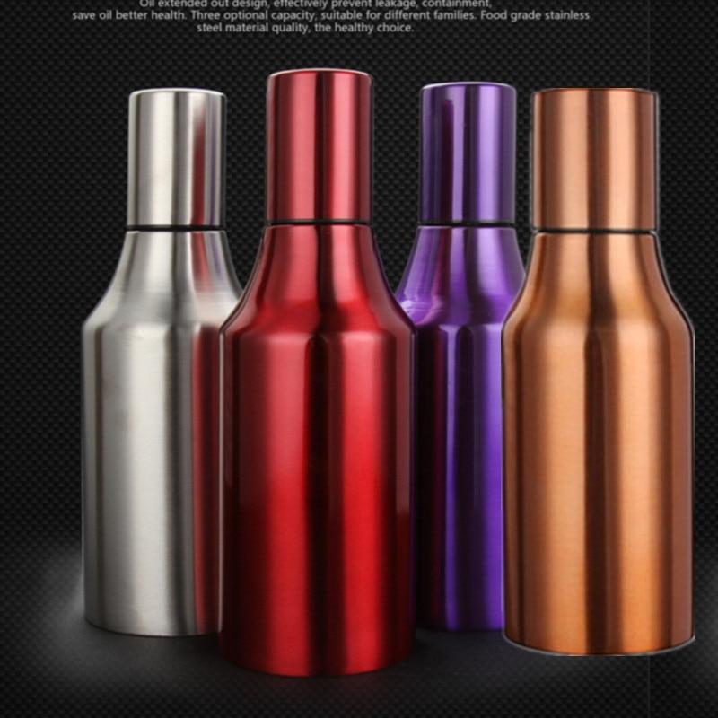 750ml stainless steel leak-proof oiler spice jar soy sauce bottle creative cruet vinegar oil bottle pot kitchen supplies 4 color
