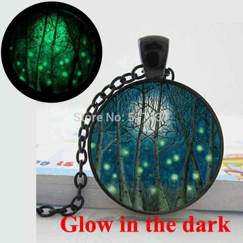 Glow in the Dark Pendant Magical fireflies in birch forest with Moon Necklace glass photo pendant necklace  Glowing jewelry