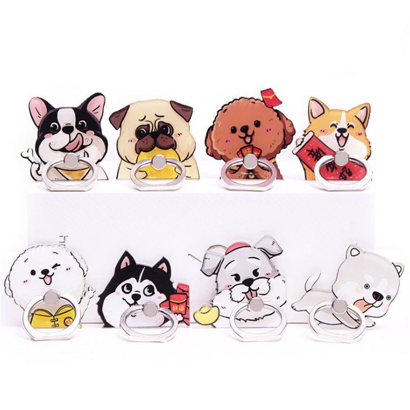 UVR Animal Mobile Phone Stand Holder Shepherd Dog Finger Ring Pug Husky Smart Phone Holder Stand For IPhone 11 Xiaomi All Phone