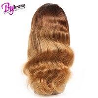 Объемная волна Ombre Цвет парик бесклеевого 360 кружево фронтальной парик с темно коричневой корни 100% бразильский Волосы remy