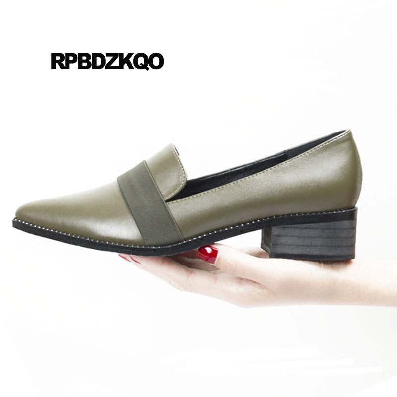 Shoes Leather Pumps Low Heels Black Stud Rivet Pointed Toe Winkle Picker Size 4 34 Ladies Metal Block Celebrity Green Italian цена 2017