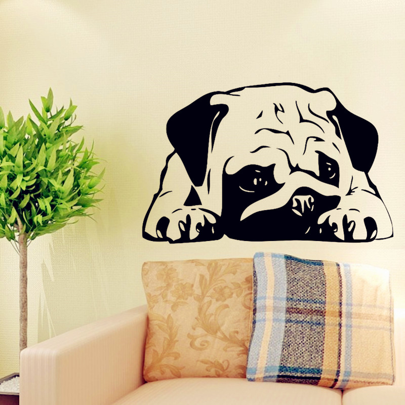 Funny Dog Wall Decals Vinyl Sticker Home decor, Puppy Pug Dogs Get ...