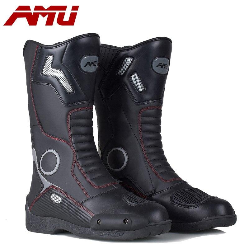 AMU moto rcycle bottes moto Protection De Sport moto rboats bateaux moto cross Dirt biker En Cuir Imperméable Bottes biker boot