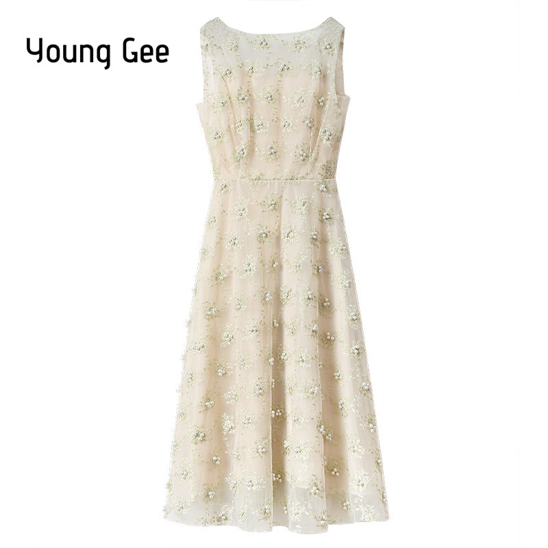 Young Gee Lace Floral Embroidery Pearls Beading Appliques Party Dresses 2018 vestido de festa Sleeveless Midi Summer Dresses