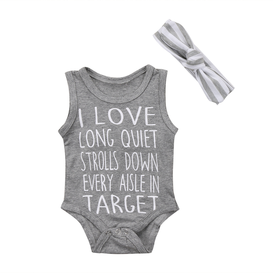 I LOVE Target Letters Gray Summer 7Pcs Newborn Baby Boys Girls Infant  Romper Jumpsuit Playsuit Clothes Outfits