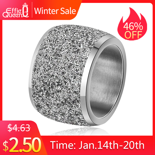 Effie Queen Silver/Rose Gold Color Stainless Steel Rings 16mm Frosting Surface B