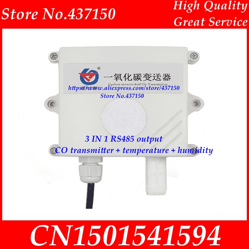 3 IN 1 Electrochemical Carbon monoxide CO transmitter temperature humidity modbus RS485 output gas pollution detection