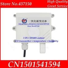 3 ב 1 אלקטרוכימי פחמן חד חמצני CO משדר + טמפרטורה + לחות modbus RS485 פלט גז זיהום זיהוי