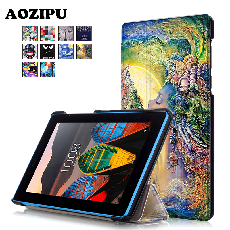 Fashion Print PU Leather Stand Tablet Case Funda Protective Cover For Lenovo Tab3 Tab 3 7 730 730F 730M 730X TB3-730F TB3-730M dolmobile ultra slim tri fold pu leather case stand cover for lenovo tab 3 730f 730m 730x tb3 730f tb3 730m screen protector
