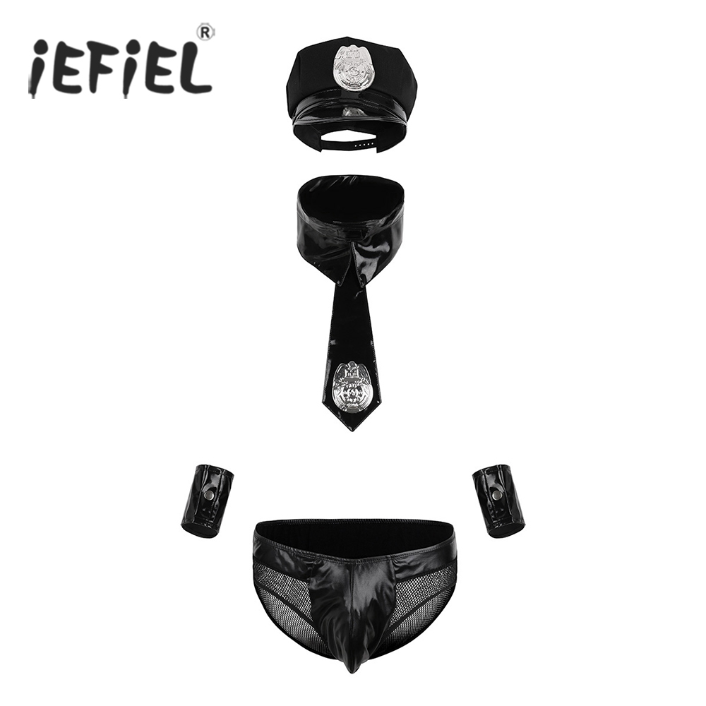 iEFiEL 5PCS Mens Officer Policeman Cosplay Costumes Uniforms Wetlook Brief Cuffs with Cap Tie Collar for Sexy Lingerie Clubwear