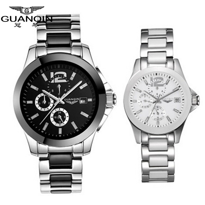 New Luxury Lovers Watch Original GUANQIN Top Brand Luxury Couple Watches Quartz Wrist Watch Fashion Waterproof Men Wristwatches