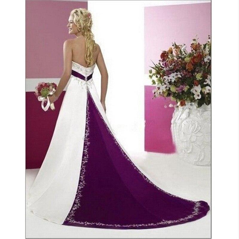 hochzeitskleid White and Purple Appliques Wedding Dresses Sleeveless ...