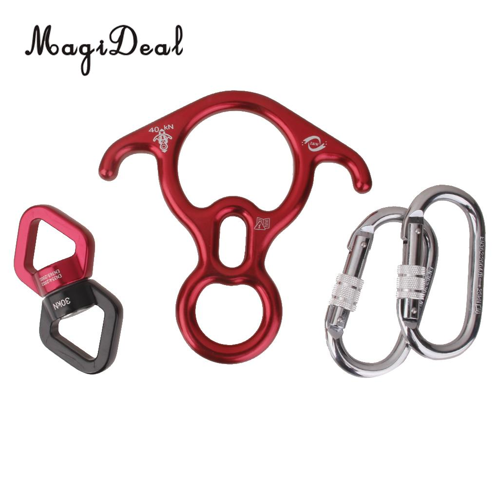MagiDeal Professional Rock Climbing Rope Swivel Connector+ 2Carabiners+Figure 8 Descender Safety Kit for Mountaineering Supplies xinda rock climbing handle control non confusion abseiling device stop descender outdoor rappelling rescue for 10 13mm rope