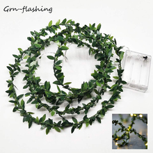 Grnflashing 3m 5m 10m copper string light  battery powered Leaf fairy lights string for garden wedding party festival decoration