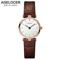 2019 люксовый бренд AGELOCER Switzerland часы женские кожаные ультра тонкие золотые кварцевые часы женские часы Relogio Feminino Montre G