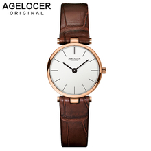 2019 Luxury Brand AGELOCER Switzerland Watches Women Leather Ultra Slim Gold Quartz-watch Female Clock Relogio Feminino Montre G
