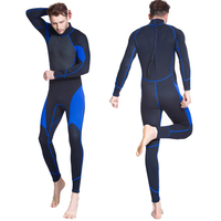 Men's 3mm thick, wear resistant thermal insulation, black and blue diving suit, sun protection snorkeling suit surf wet suit