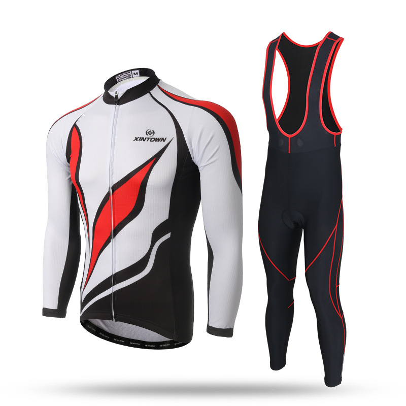 Men Cycling Long Sleeve Sets White Red Anti-sweat Jersey and Bib Pants with GEL Pad Bike Bicycle Riding Shirt Suit Sportswear teleyi men cycling jersey bike long sleeve outdoor bike jersey bicycle clothing wear breathable padded bib pants set s 4xl