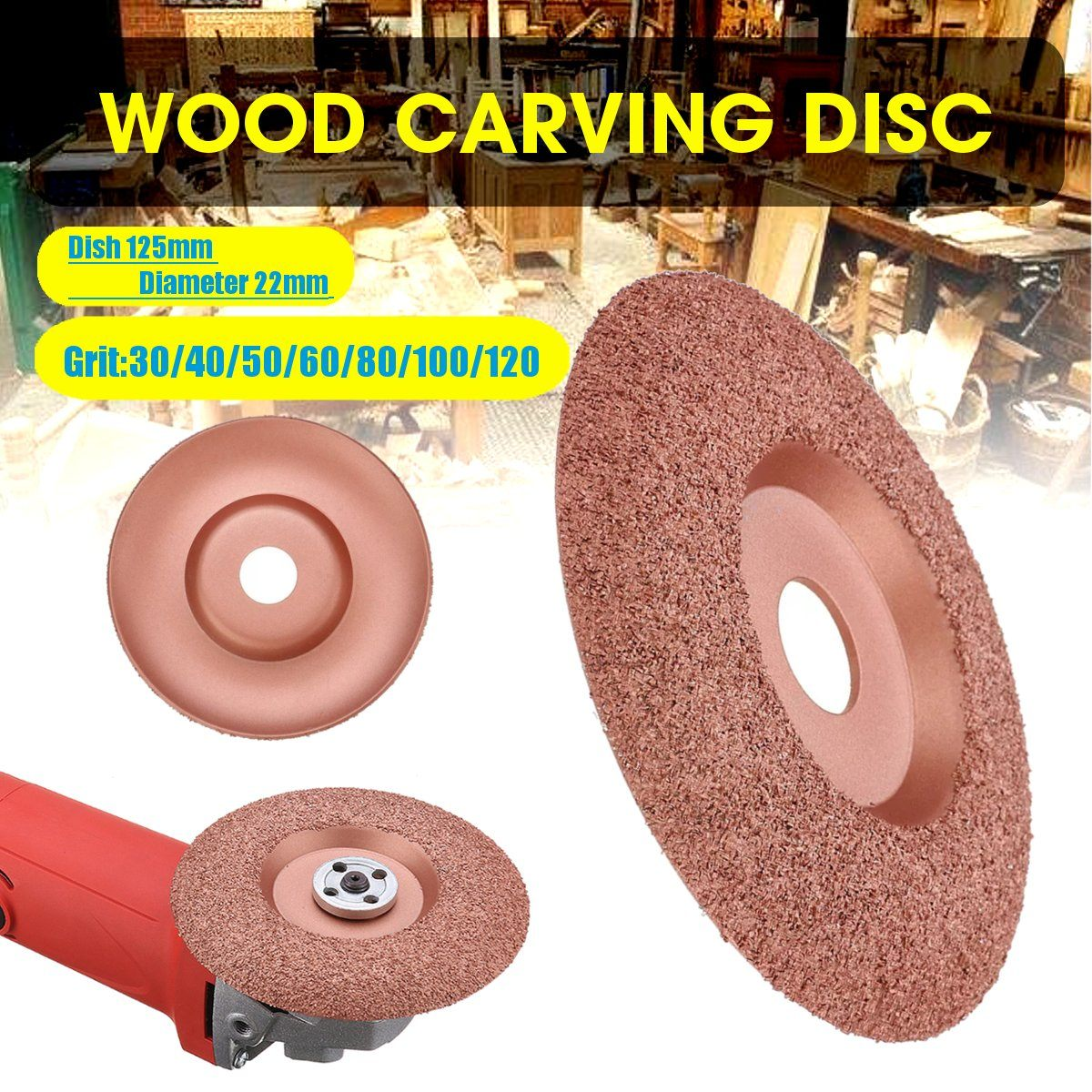 125mm Diameter 22mm Bore Wood Carving Disc Angle Grinder Disc Tungsten Carbide Shaping Dish Wood Shaping Disc