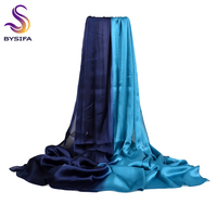 [BYSIFA] Women Blue Gradient Silk   Scarf   Cape Fashion Accessories Satin Long   Scarves     Wraps   Spring Autumn Winter Muslim Head   Scarf