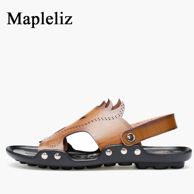 Mapleliz Brand Men Sandals Genuine Leather High Quality Leisure Slip-On Solid Summer Men Flat Soft Sole Beach Leisure Men Shoes