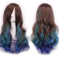 Heat Resistant Perruque Bresilienne Cosplay Curly Hair Loose Curly Hair The New Gradient Fashion Oblique Bangs Long Hair