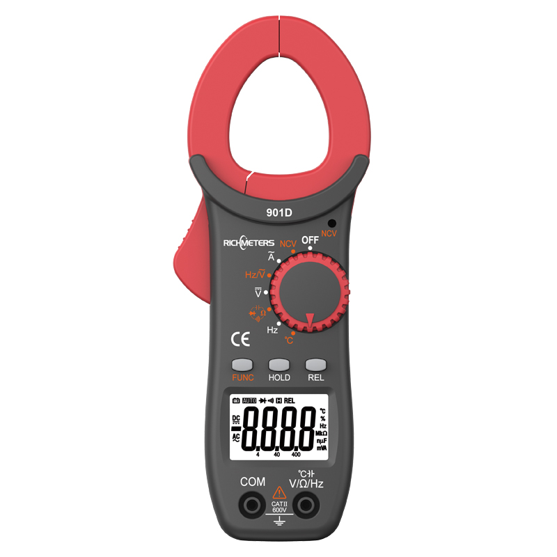 RICHMETERS RM901D Digital Clamp Meter 4000 zählt NCV Auto-AC/DC Spannung Frequenz Widerstand Kapazität Diod Temperatu