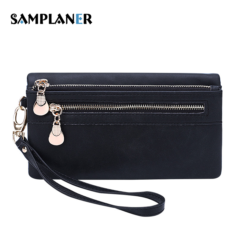 Samplaner Double Zipper Women Wallets Matte PU Leather Wallet Long Clutch Wallets Phone Card Holder Coin Purse With Wrist Strap 2016 hot fashion women wallets double zipper bag solid pu leather men long coin purse brand clutch lady cash hold phone card