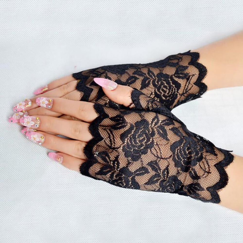 Best Sale Sailor Dance Long Fingerless Womens Sexy Lace Gloves Ladies Half Finger Fishnet Gloves Heated Mesh Mitten Handschoenen 1