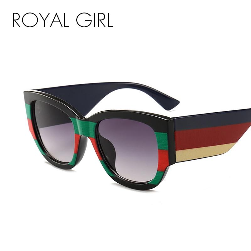ROYAL GIRL Tricolor Oval Sunglasses Women 2018 Brand Designer Black Red Sun Glasses Women High Quality New Oculos UV400 ss729