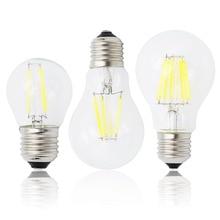 E27ランプa60 ledフィラメント調光可能4ワット8ワット12ワット16ワットg45レトロガラスエジソン220ボルト電球を交換白熱ライトシャンデリア