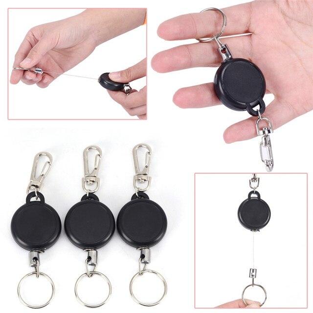 2f77765d57e 60 cm Intrekbare Stalen Koord Sleutelhanger Badge Reel Intrekbare Recoil  Yoyo Skipas ID Kaarthouder Sleutelring