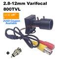 800tvl lente Varifocal Mini cámara 2,8-12mm lente ajustable + RCA adaptador seguridad vigilancia CCTV Cámara coche Overtaking Cámara