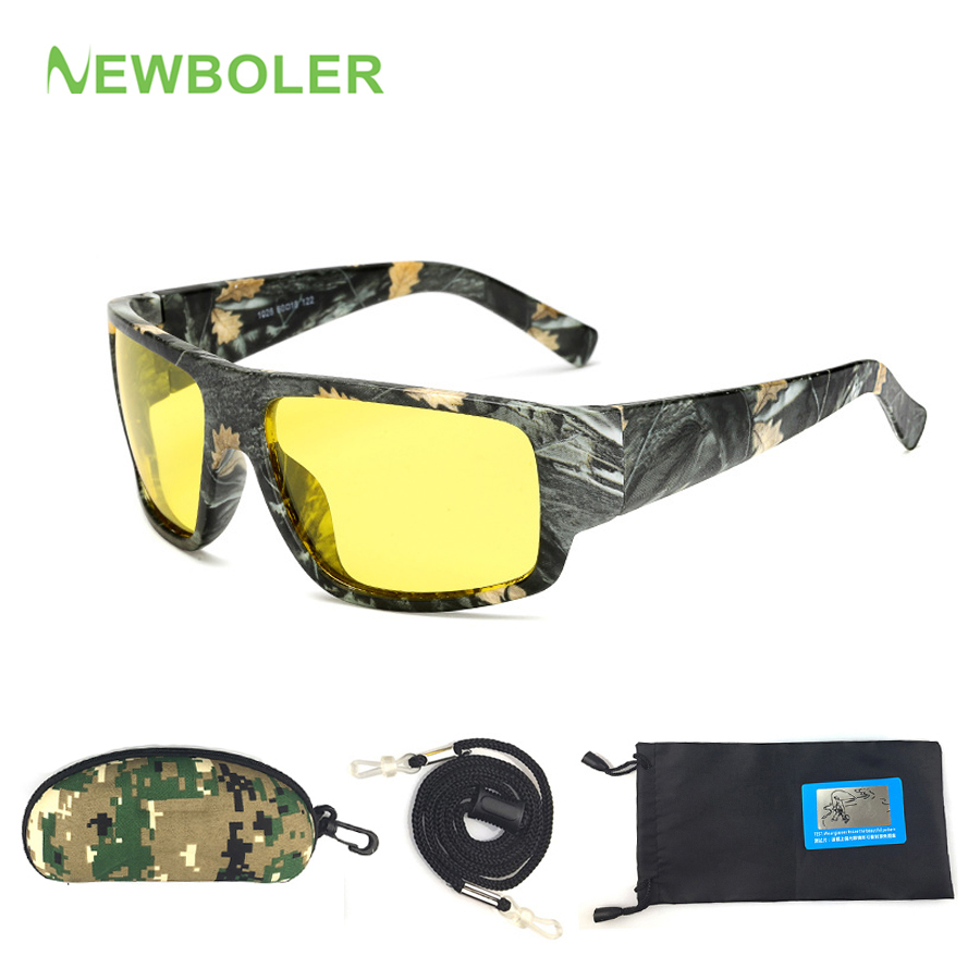 NEWBOLER Fishing Eyeswear Camouflage HD Night Vision Glasses Driving Cycling Polarized Outdoor Sport Sunglasses For Men Yellow