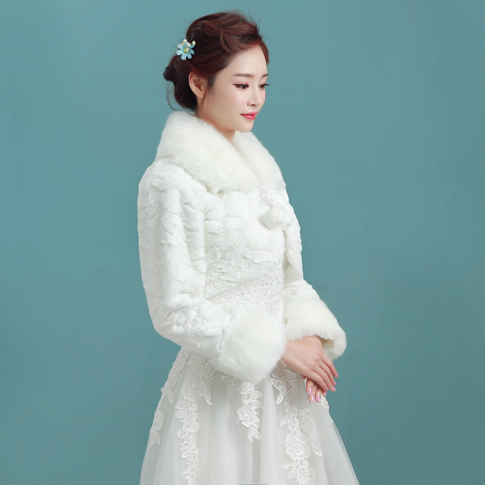 d20330209b1 2016 Elegant Accessories Long Sleeves Faux Fur Warm Wedding Coat Bridal  Wraps Winter Wedding Jacket Bridal Boleros PBJ13