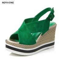 NEMAONE 2017 Yeni yeşil Siyah toka Moda Seksi Yüksek topuk Yaz Dişiler Bayan Kadın Takozlar Sandalet