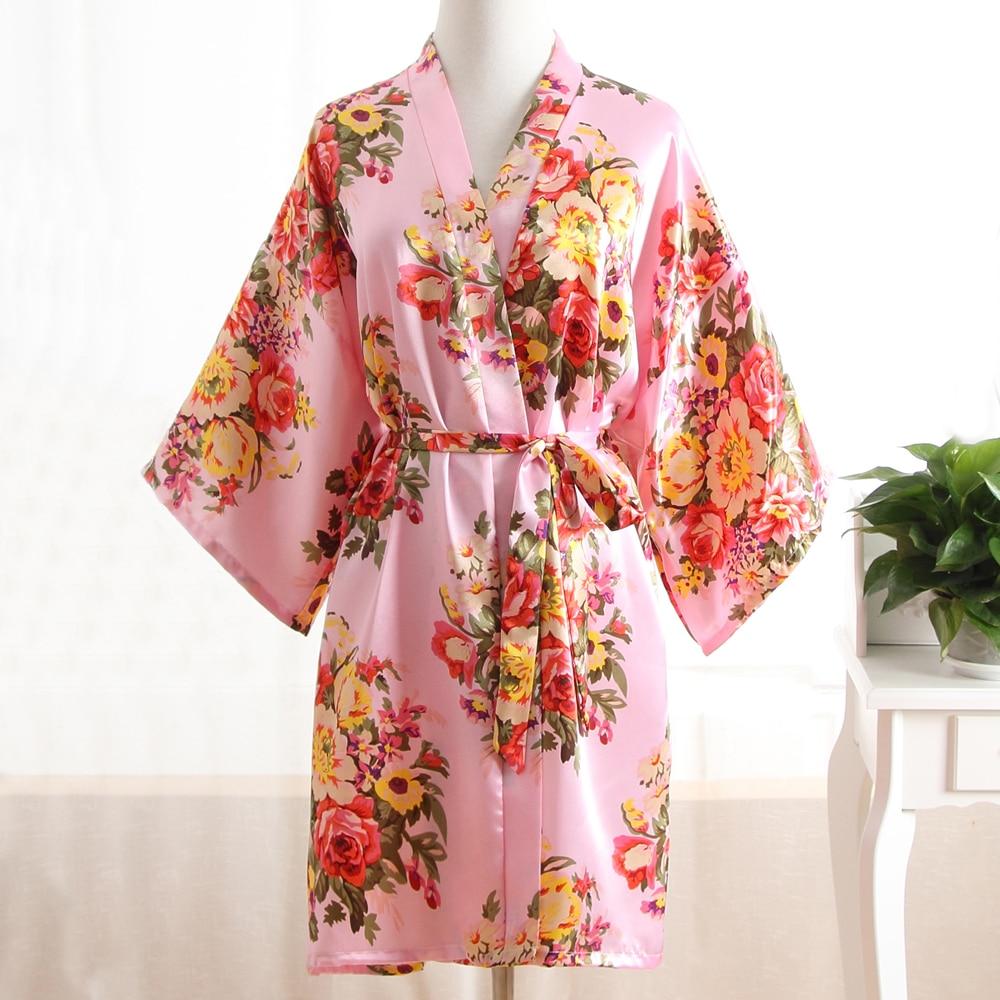 Pink Summer Women Kimono Mini Robe Bath Gown Sleepwear Ladies Bride Bridesmaid Wedding Dress Nightgown Mujer Pijama One Size 007