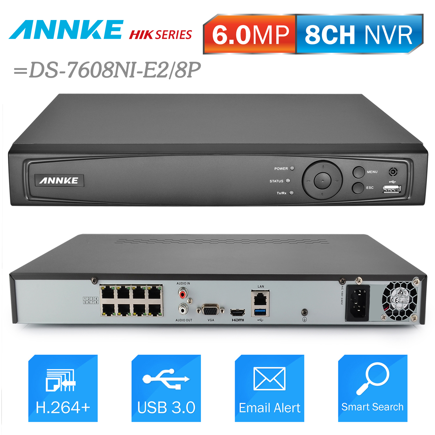 ANNKE 8CH 6MP POE NVR Network Video Recorder DVR For POE IP Camera P2P Cloud Function Plug And Play =NIK DS-7608NI-E2/16P